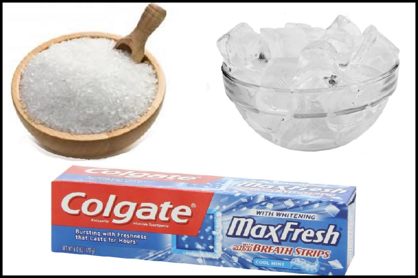 Here we are offering an effective DIY pack to get rid of blackheads. You need: ▪Mint toothpaste ▪Salt ▪Spoon to mix ▪Small bowl ▪2-3 ice cubes