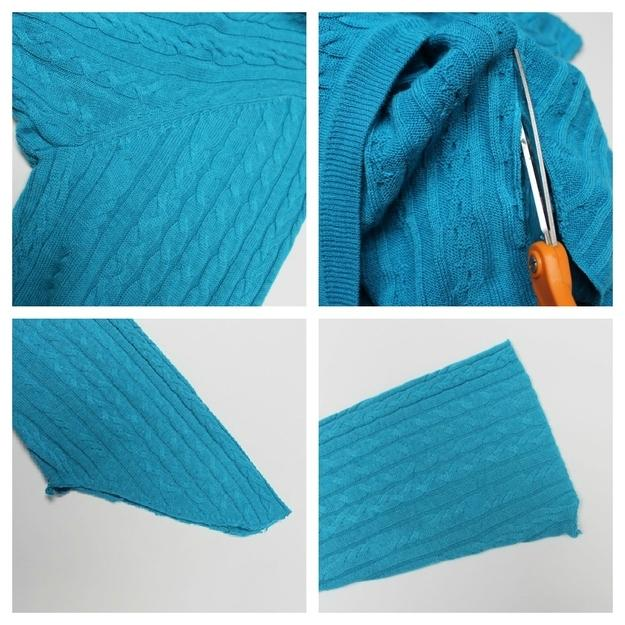 """Hem the cut edge. This is just your most basic hemming. Fold the cut sleeve in toward the center about 1/4"""" or as closely as you can, then fold it again. Stitch along the folded edge. You can do this by hand, but a sewing machine will go much more quickly."""