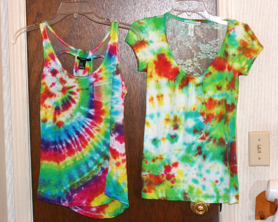 make your own tie dye shirts! take an old white tee and give it some color