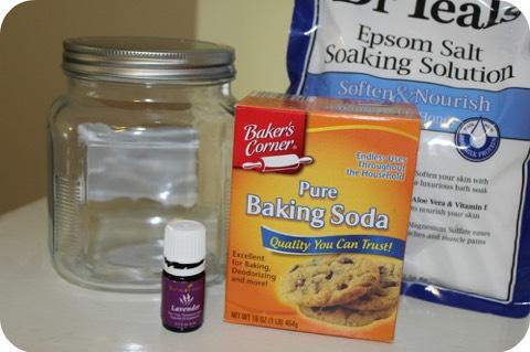 Ingredients: •1 cup Epsom Salt •1 cup Baking Soda •10 drops of Lavender essential oils