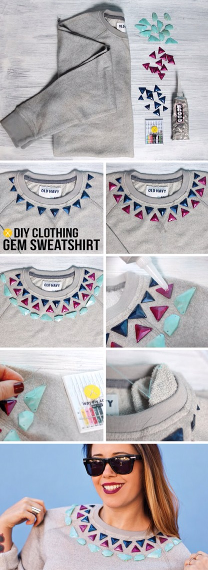 Steps: 1. First, lay out your gems in the the desired pattern surrounding the neckline of your sweatshirt. 2. Next put a dab of glue under each gem, and glue in place, this will ensure that the pattern is correct when sewing. 3. Let dry for an hour
