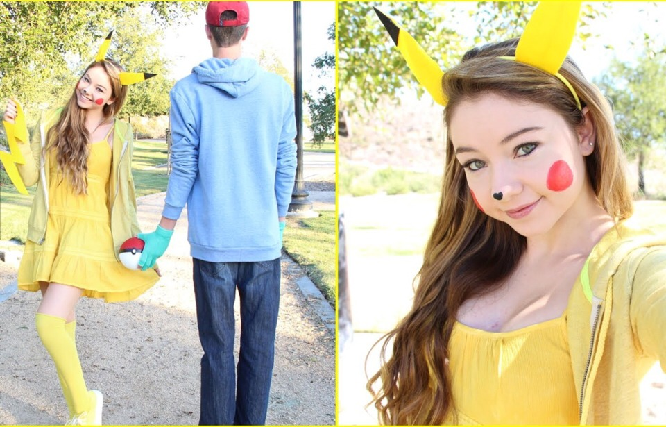 a cute costume which can be used with you bf pikachu yellow