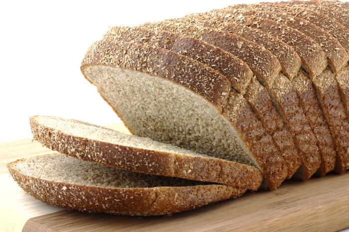 Two slices of whole wheat bread