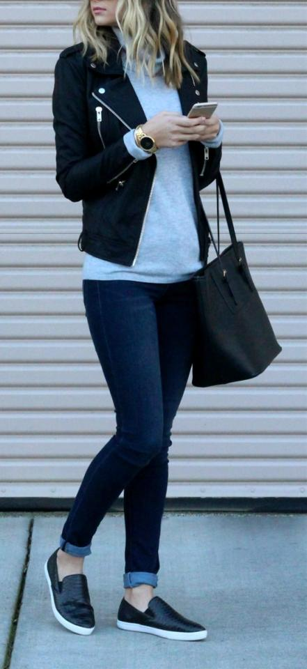 21. Black Leather Jacket, A Grey Jersey, Blue Jeans & Leather Loafers