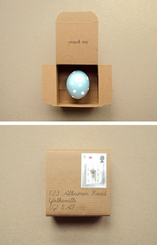 The last part is your choice.  Wrap up your egg in a box, basket, bag, or even make a few for a Easter hut!