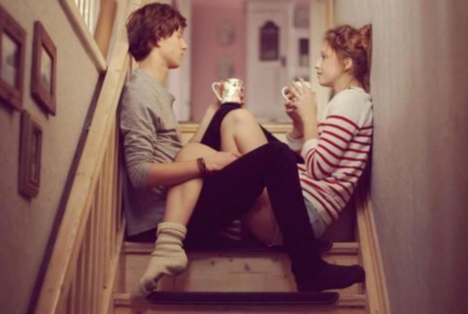 I really like this one because it looks really raw! You and your boyfriend having coffee and just talking....love it!
