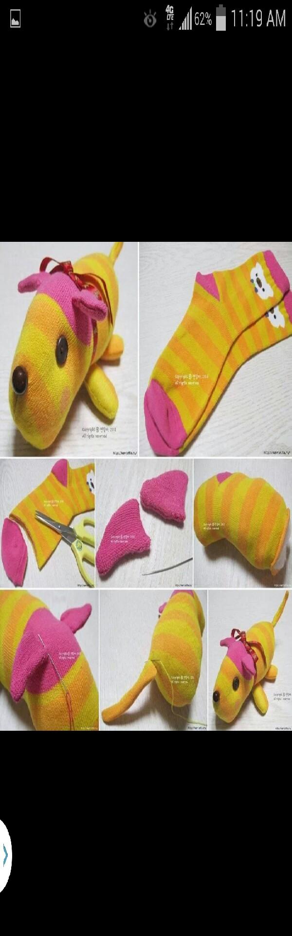 How to make plush toys using socks.