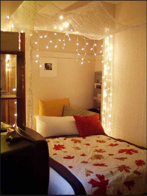You can buy or make a bed canopy and add some lighting. Put a gift on the bed or have the picnic on your bed while watching a movie!