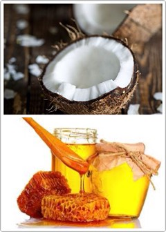 COCONUT + HONEY SCRUB  Coconut moisturizes + nourishes the skin, while honey kills microbes.  HOW TO   Take 5 tsp of coconut oil + 2 tsphoney, mix them well + massagegently into your scalp for10-15minsto open up the pores + stimulate circulation. Let the scrub sit for about 30min+ rinse it of