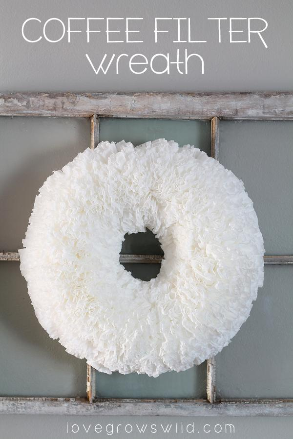 for making a lovely and festive wreath out of coffee filters and a Styrofoam base. This would look so lovely for all seasons, and it's so easy to make! It may take a little time, but it's totally worth it!