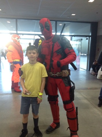 Meeting your heroes is hard~but meeting your hero villain Deadpool isn't! Hand sewn Deadpool costume.