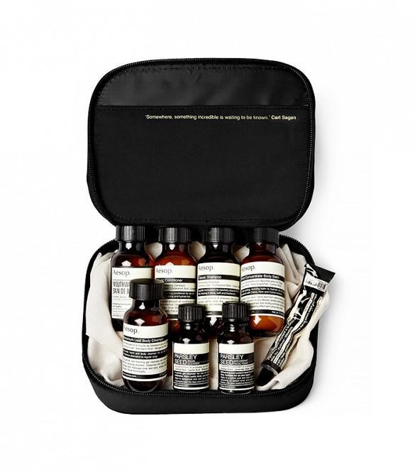 Aesop London Grooming Kit ($75)  For the jet-setter, this unisex travel kit features luxe grooming essentials, like shampoo and conditioner, mouthwash, cleanser, and more—all from Aesop's apothecary.