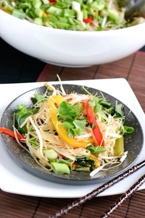 Stir Fried Noodles  Have you ever tried rice noodles? They are the star of this colorful vegetable stir fry that easily be enjoyed any night of the week.
