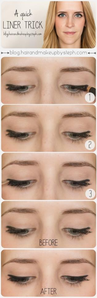11. You can use a little bit of black eyeshadow to clean up a splotchy eyeliner line.