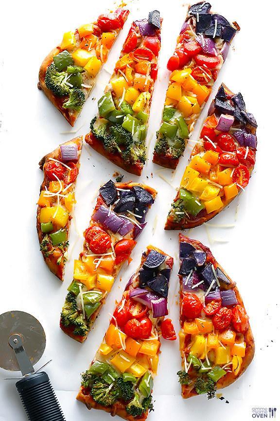 4. Rainbow Veggie Flatbread Pizza