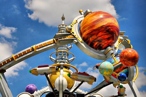 Astro Orbiter Pilot your very own spaceship high in the sky above Tomorrowland.  Height: Any FP+: No