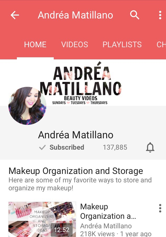Andréa Matillano has great organization vids and other things with makeup. Just like the others though I don't watch her much but from the ones I have see I would recommend her.