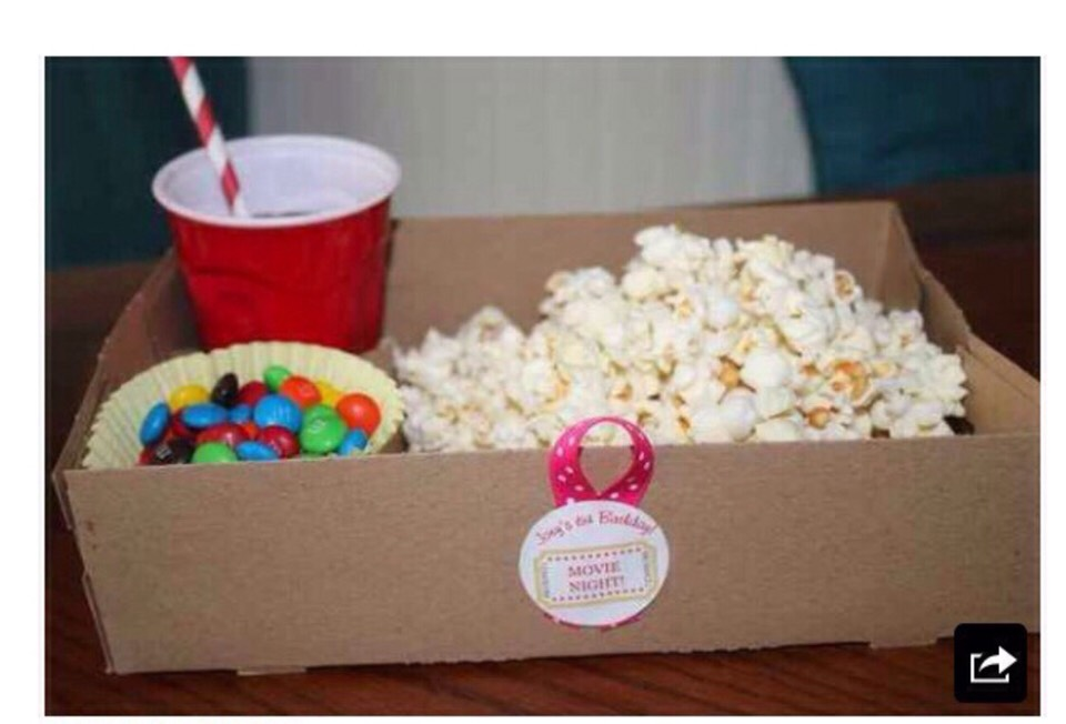 Have a food box for every guest fill with a drink, popcorn and sweets or cakes. Or you can let the guest pick from a buffet
