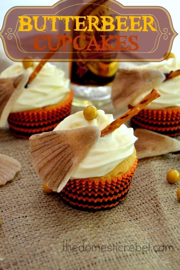 Recipe:  http://thedomesticrebel.com/2013/10/20/butterbeer-cupcakes/