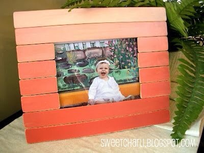 ombre picture frame made from paint sticks