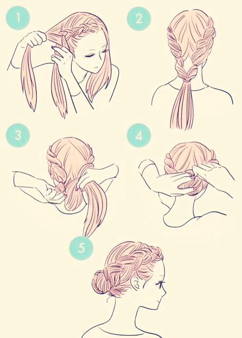 Dutch braid both sides of your hair down and tie or clip them as you finish, when both are done roll the ponytail up and pin it, or you could remove the tie and roll it onto a  hair donut, or twist it into a bun