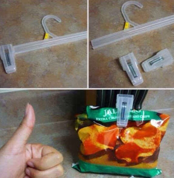Use clips off clothes hangers to seal packets such as crisps/chips to keep them fresh