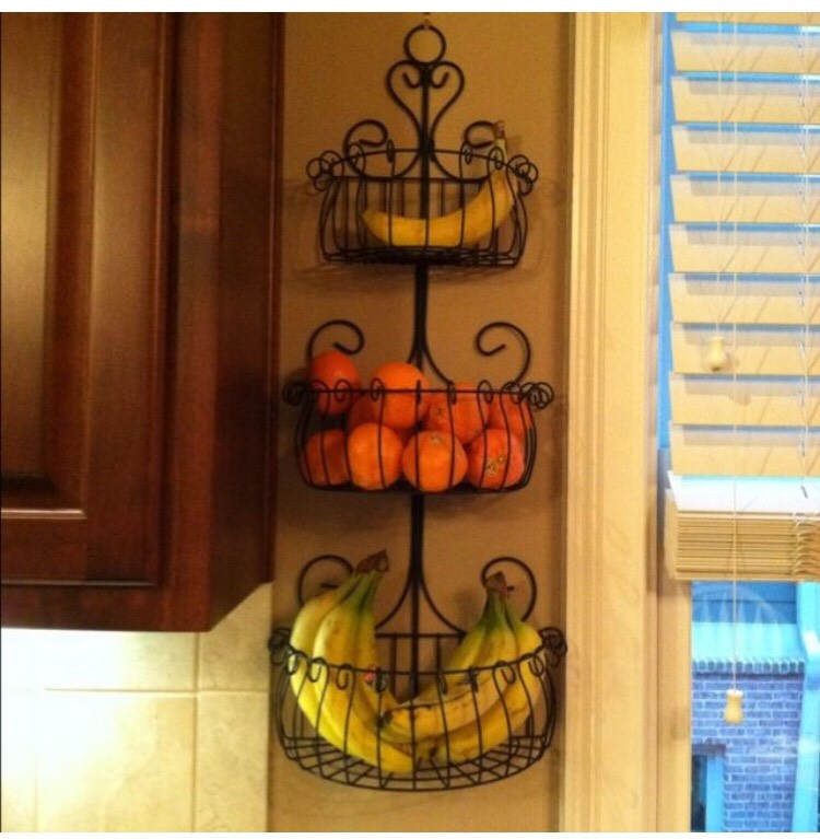 Turn a garden hanger into a fruit holder to clear up shelf space!