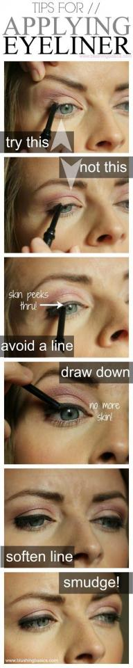 1. Pull the area around your eye when applying eyeliner so that no skin peeks through