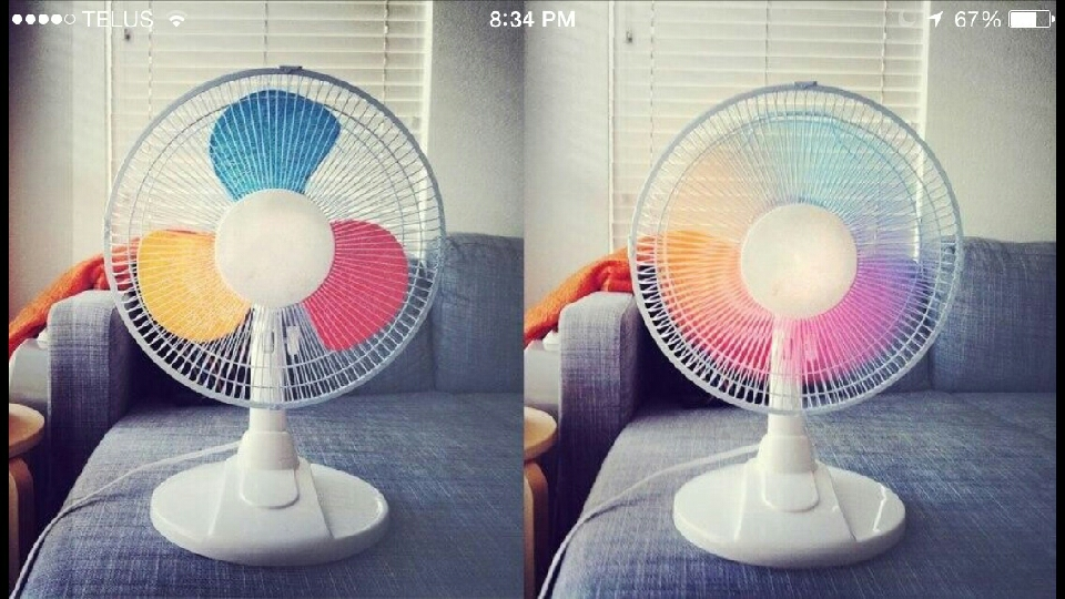 Paint fan blades and create a rainbow fan for those hot summer days