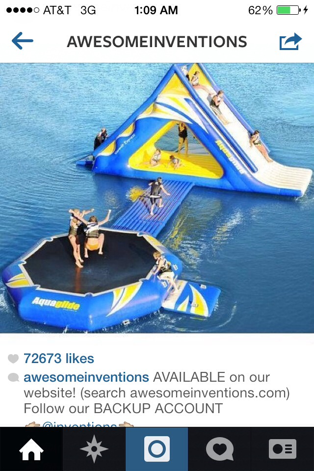 Cool water trampoline and slide