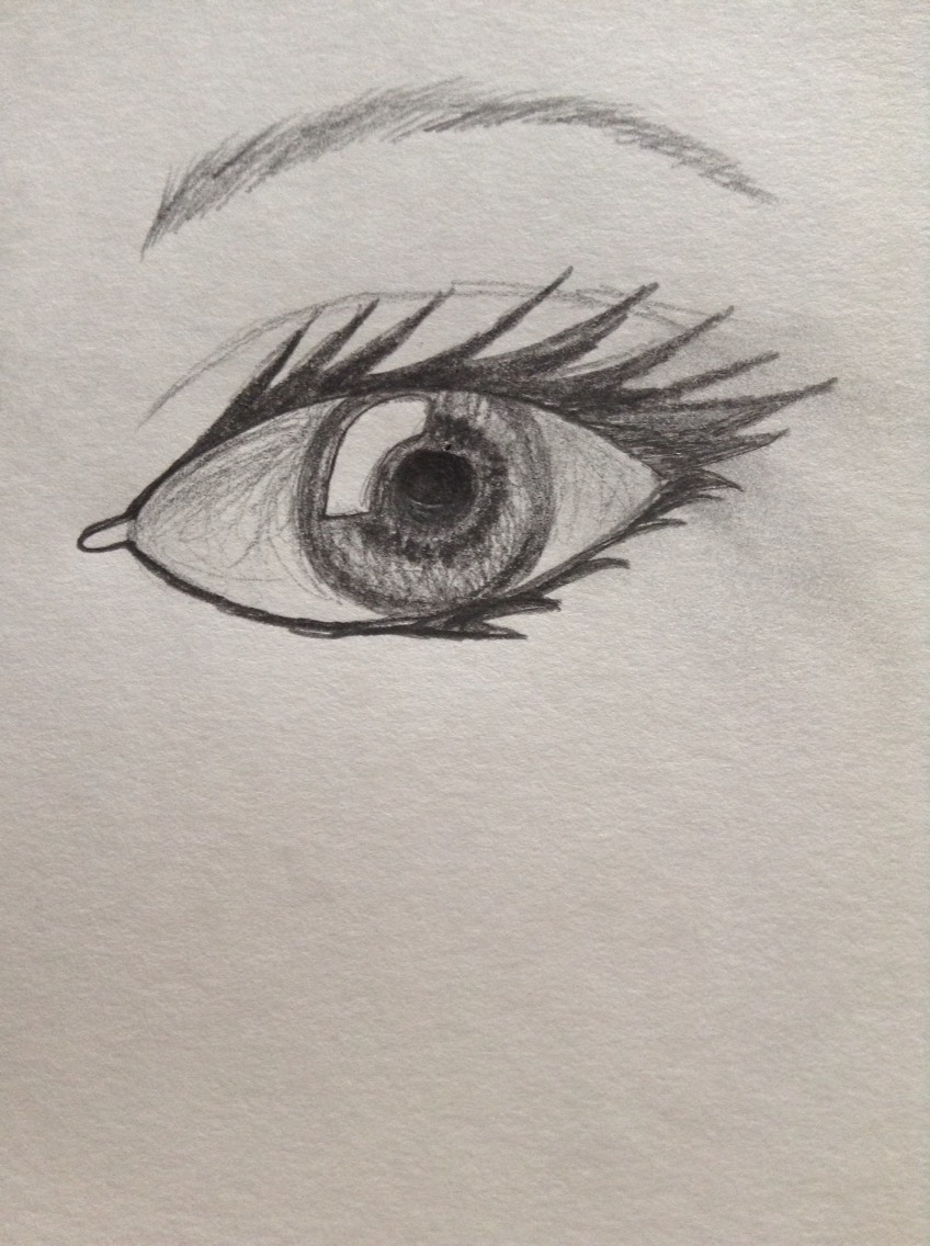 And last but not least, add the details around the eye as in the crease and the eyebrow