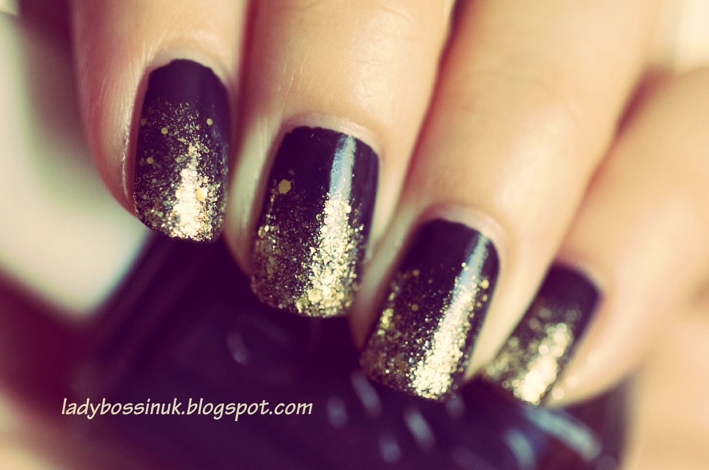 If your nails are just chipped on the ends you can try a gradient with the glitter like this. :)