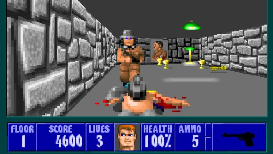 Do You remember this game? Well You can play it in your browser with this link: http://3d.wolfenstein.com/game_NA.php