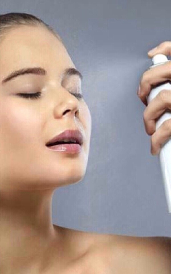 spray hairspray lightly on to finished make-up. .it helps to keep make-up in place.