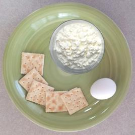 Day 2 Lunch:      (1) cup cottage cheese (232 calories)     (1) hard boiled egg (78 calories)     (5) saltine crackers (64 calories)  You may substitute (1) slice of cheddar cheese in place of the cottage cheese if you choose.