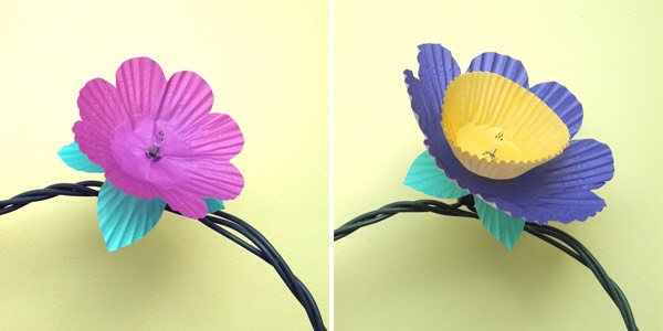 Step 5:  Layer cupcake papers onto each lightbulb to make flowers.