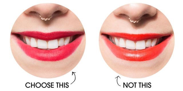 6. Make your teeth look whiter with lipstick. If you wish your teeth were whiter but aren't into whitening products, try experimenting with different colors of lipsticks. Blue-based colors, like a true blood red, can make your smile pop and look much whiter!