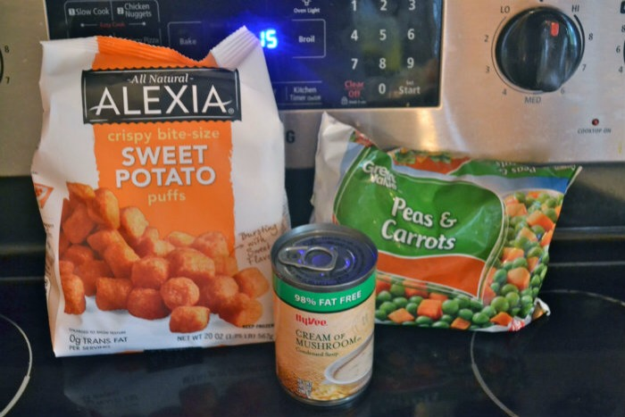 Healthier Sweet Potato Tater-tot casserole  Ingredients   1-2 packages of sweet Potato tater-tots  1 can of 98% fat-free cream of mushroom soup  1 bag of frozen vegetables  1 lb of 93% fat-free ground beef.  2 cups of cheddar cheese