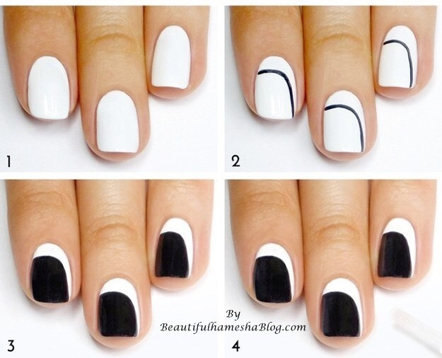 * Apply white polish to your nail, paint a curved black line, fill in the black polish, and voilà!