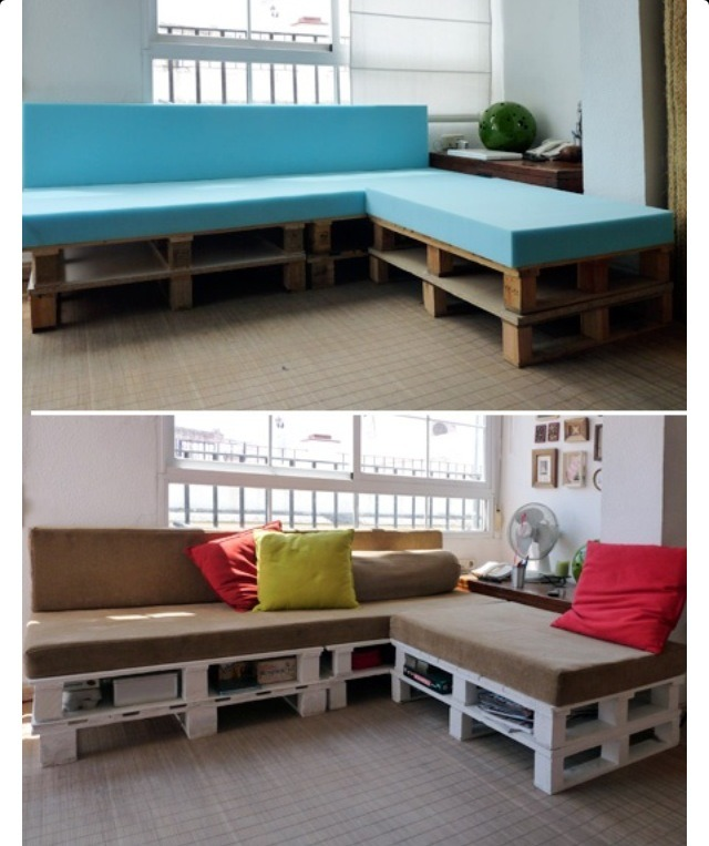 2 layers of wooden pallets plus super thick foam. Cover the foam in fabric and paint the pallets any color you want!