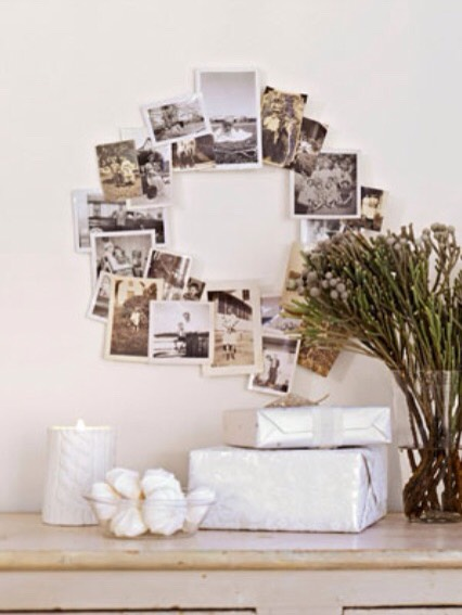 Reinvent the family tree with your favorite black and white snapshots. To make your own photo arrangement, hot-glue a selection of black and white snapshots (or make copies to preserve the originals) to a wire wreath form. (Wire wreaths, $3.50 to $4.95; mainwreathco.com)