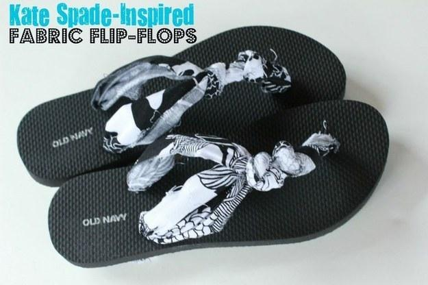 "1. Cover your flip flops straps in fabric: Take the ""rub"" out of rubber flip flops."