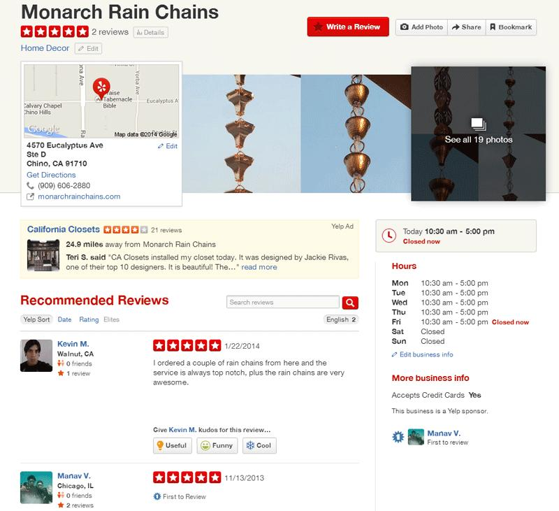 Monarch Rain Chains there is one more environmental defender and protector. The website was very easy to browse through and I was able to find what I needed. I always appreciate a good deal and the cost of pure copper 8 ft. rain chain was a deal maker but even more is a good product with utility to