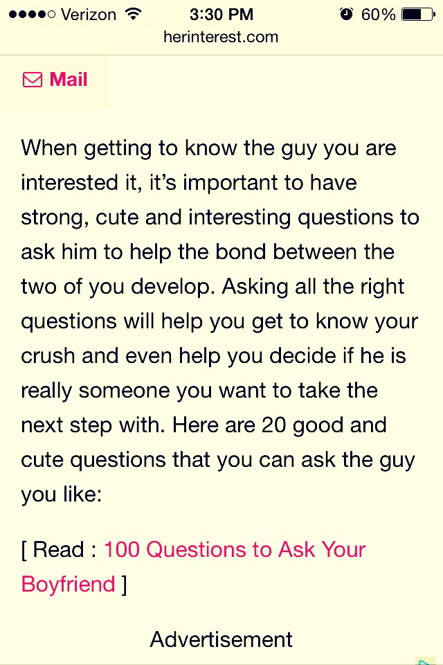 What to ask a man when getting to know him