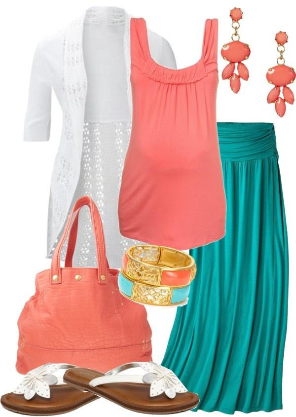 cute spring and summer Maternity shirt skirt and cardigan