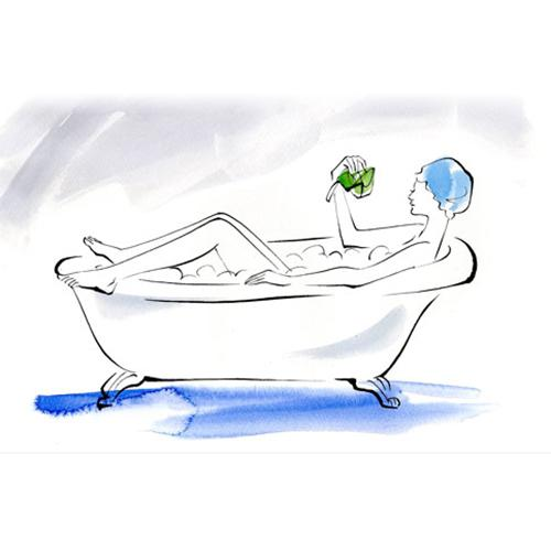 Bubble the Fun How With your body submerged and legs dangling out of the tub, start by giving yourself a rubdown up top before you move down to roam around under the water.  Benefit Relaxing in a warm sweet-smelling bath helps relieve tension, ease stress, and definitely gets you in the mood.