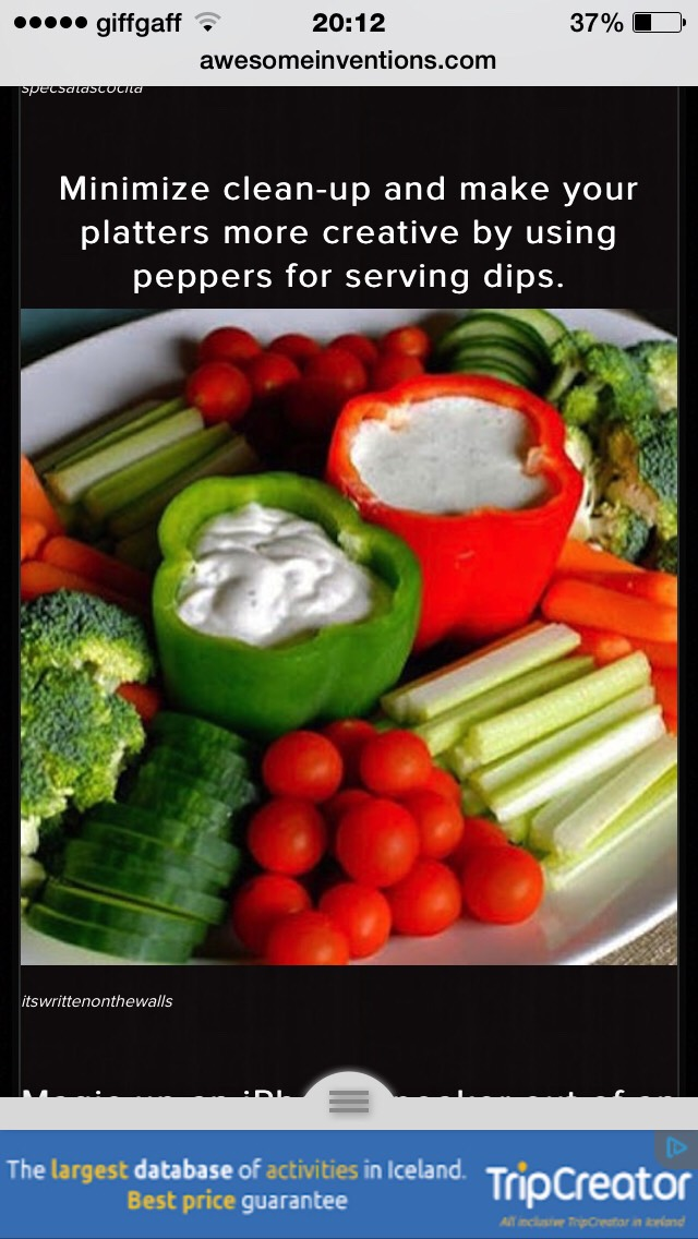 Put dips in vegetables for less washing up