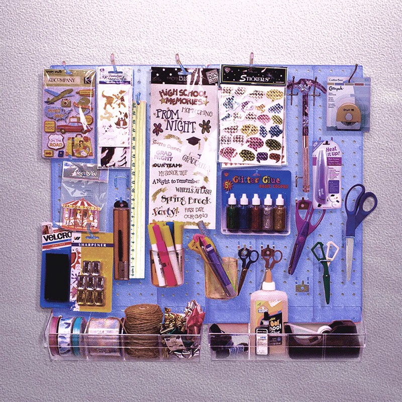 For those crafty people out there. Find yourself a pegboard and some hooks and start decorating. Place the hooks anywhere and start hanging all your art supplies on there and keep it off your working area.