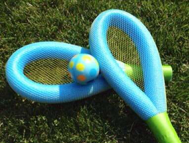 Use tape & produce netting to make racquets!