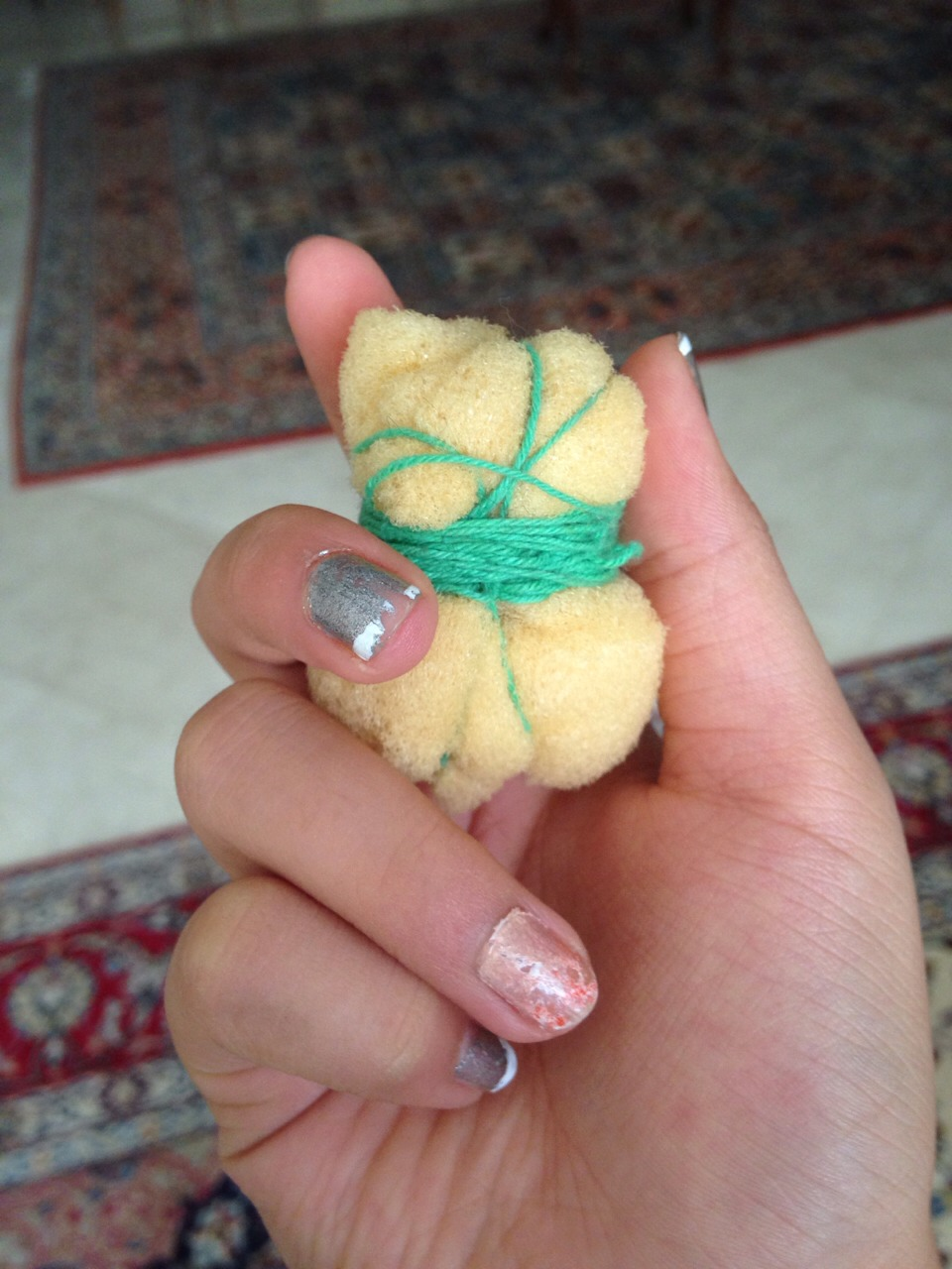 Next is the sponge warn ball. Just take a small sponge and wrap it in yarn/string.